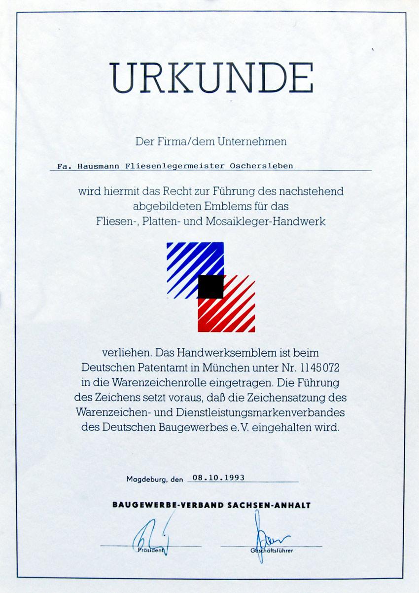 Urkunde zum führen des Emblems des Fliesen-, Platten- und Mosaikleger-Handwerk
